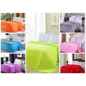 Soft Warm Solid Micro Plush Fleece Blanket Throw Rug Sofa Bedding Flannel Throw Pet blanket