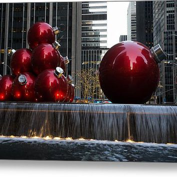 Limited Time Promotion: A Christmas Card From New York City - Manhattan Skyline Reflecting In Giant Red Balls Stretched Canvas Print
