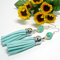 Seafoam Agate and Suede Seafoam Tassel Handmade Dangle BOHO Earrings