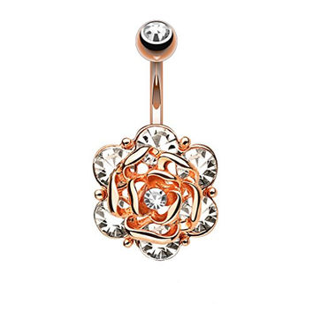 Jeweled Flower Rose Goldtone Belly Button Ring