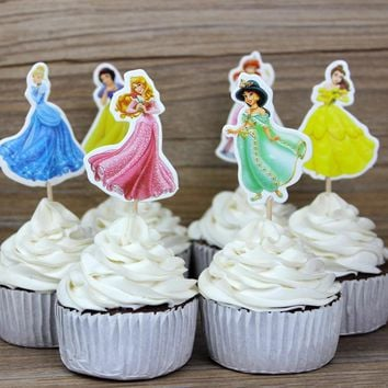 24pcs/lot princess cupcake topper Cake Pick Toppers Party Supplies Birthday Wedding Cupcake Decorating Happy Birthday Home Party
