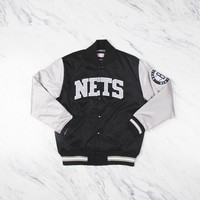 M&N Color Blocked Satin Jacket Brooklyn Nets - 'Black / Grey'