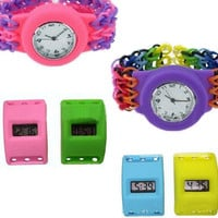 2Style Colorful Loom Watch Compatible with loom,Rubber Bands Candy watch with Silicone Bands &hook and Clips 100pcs