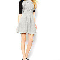 Black and Grey Downtown Los Angeles Print Half Sleeve Ruched Mini Dress