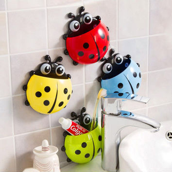 New Creative Ladybug Toothbrush Holder Powerful Suction Toothpaste Shelf Storage Rack Bathroom Decorative Wall Shelves