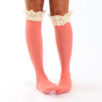 Shabby Chic Coral Lace Boot Socks - Modern Vintage Boutique