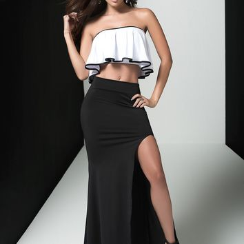 Ruffled Contrast Gown