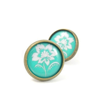 Teal and White Flower Earrings - Studs Bronze Color Romantic Turquoise Blue Aqua Green Free Shipping