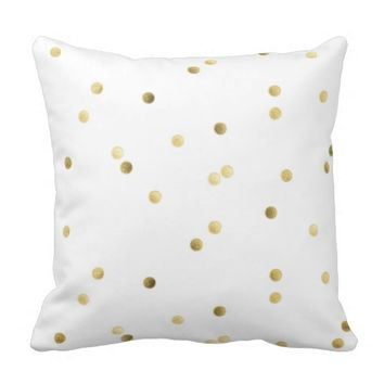 White Gold Polka Dot Decorative Pillows