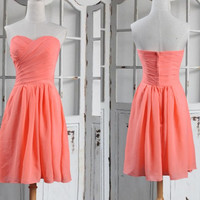 Short Coral Sweetheart Bridesmaid Dresses,Short Prom Dresses,party Dresses,Homecoming Dresses