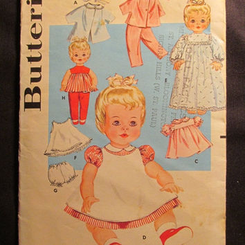 SALE 1960's Butterick Sewing Pattern, 9994! 20 inch doll clothes/Coats/Hats/Snow Suits/Dress/Night Gown/Slips/Panties/Yoke & Pants/Doll Outf