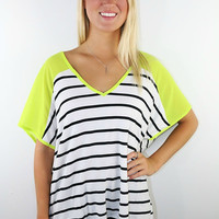 Shine Bright Black & White Stripe Neon Yellow Chiffon Sleeves Oversized Top