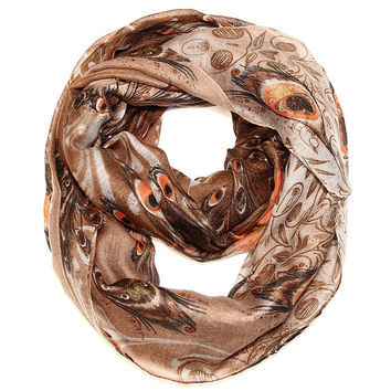 Peacock Feather Print Infinity Scarf - Earth Tones
