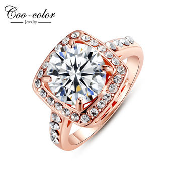 Ri-HQ1003 New Brand Ring Jewelry Cubic Zircon 18K Rose Gold Plated SWA Elements Austrian Crystal Fashion Finger Rings For Women