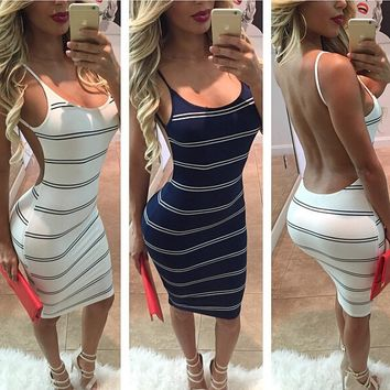 SEXY SPLICING STRIPE DRESS