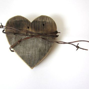 Old Heart barn wood sign rustic barbed wire The by TheLonelyHeart