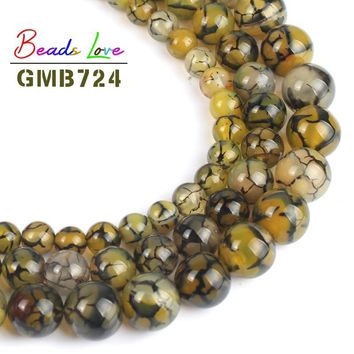 Natural Yellow Black Line Dragon Veins Agat Round Stone Beads for Jewellery Making Diy Necklace Bracelet Jewelry 6/8/10 mm 15''
