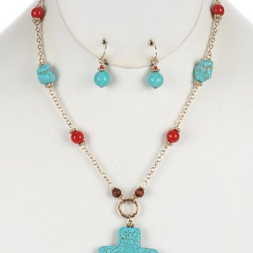 Turquoise and Coral Natural Stone Cross Pendant Necklace And Earring Set