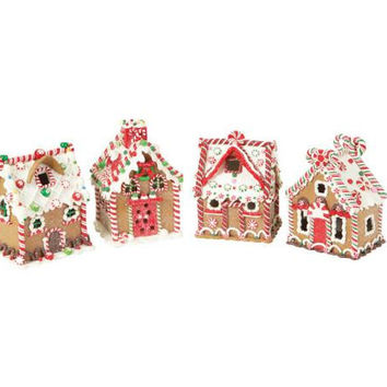 4 Gingerbread Houses - Decorative Only
