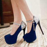 Size 32-42 Fashion Spring/Autumn flock women red wedding shoes sexy Round Toe Mary Janes platform high heels HDH-B-12