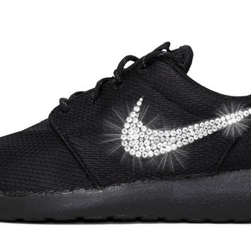 Nike Roshe One - Triple Black + Swarovski Crystal Swoosh