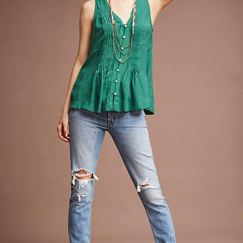 Pintucked Sleeveless Blouse
