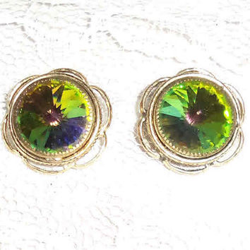 HUGE WATERMELON RHINESTONE Clip On Vintage Earrings Whiting & Davis Rare Type