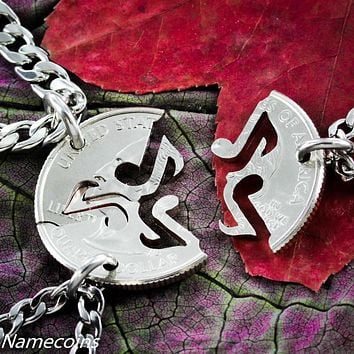 Music Note necklace, 3 piece friendship jewelry, handmade by Namecoins