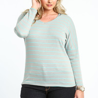 Plus Size Striped Hooded Dolman Top