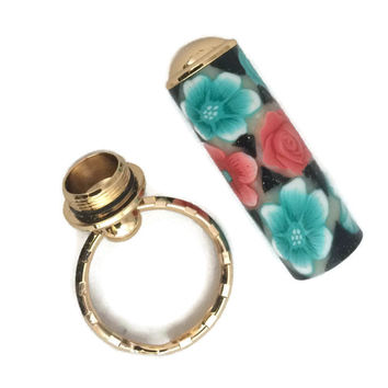 Coral and Turquoise Polymer Clay Flowers Gold Finish Secret Compartment Key Chain Pill Box SJS046A