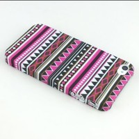 Comkes Tribal Tribe Stripe Pattern Indian Hard Snap On Case Cover for iPhone 4 4S 4G Purple New