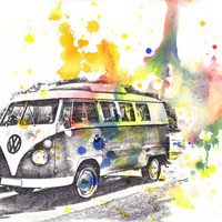 "Retro Vintage Art Volkswagen Vw Van Bus Poster Print From Original Watercolor Painting 13x19"" Poster Print"