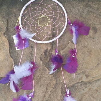 7 inch Dream Catcher, Purple and Pink Dreamcatcher, Native American Style Wall Art, Home Decor Wall Hanging, Handmade