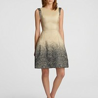 HALSTON HERITAGE Ombre Jacquard Flared Skirt Dress | Bloomingdale's