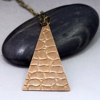 Long Triangle Necklace - Safari / Giraffe Print - Geometric Jewelry
