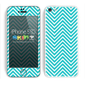 Chevron Pattern V2 Blue and White Skin For The iPhone 5c