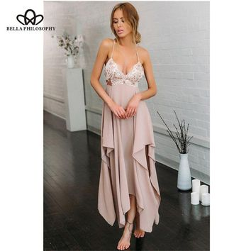 Bella Philosoph V Neck Sequins Slip Dress Off Shoulder Backless Night Club Sexy Girls Party Prom Lady Slit Irregular Swing Dress