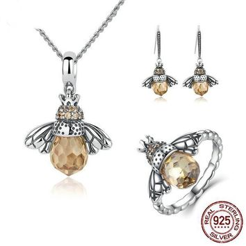 925 Sterling Silver Jewelry Set Lovely Honey Bee Jewelry Set