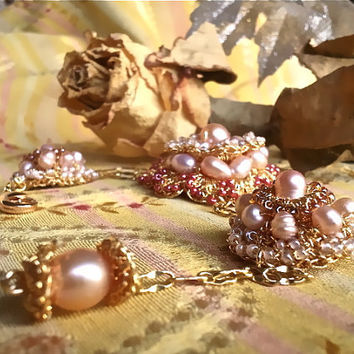 Gold Lace Autumn Wedding Pearl Bracelet Sultana Berfin by sukran