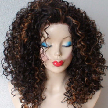 Lace front wig. Brown curly wig. Brown hair with auburn highlight  deep curly Lace front Heat resistant synthetic wig.