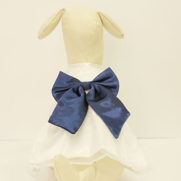 White Dog Dress, Navy Bow, Dog Birthday gift, Pet wedding accessory