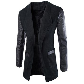 Vska Mens Leather Sleeves Wool Pea Coat Cardigan Trench Coat