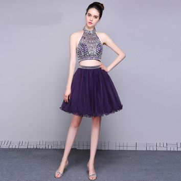 Purple short cocktail dresses Two Piece elegant high neck special occasion dress party gowns