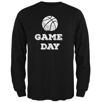 Game Day Basketball Black Adult Long Sleeve T-Shirt
