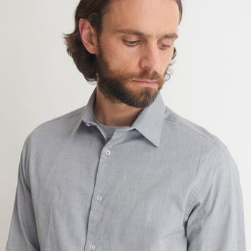 The Idle Man Smart Regular Oxford Shirt Grey
