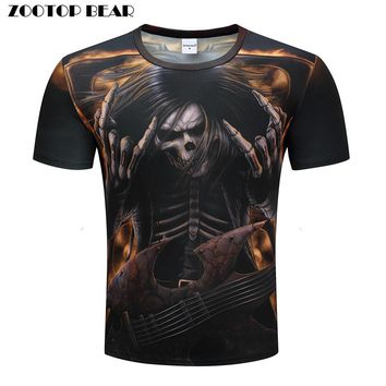 Heavy metals T shirts Men 3D T-shirts Hip Hop Tops Funny Rock Tees Skull Printed Tshirts Band Summer Casual Camiseta