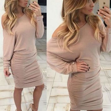 Autumn Women Solid Casual Batwing Sleeve Party Sheath Dresses Ladies Sexy Slash Neck Knee Length Dress Vestidos