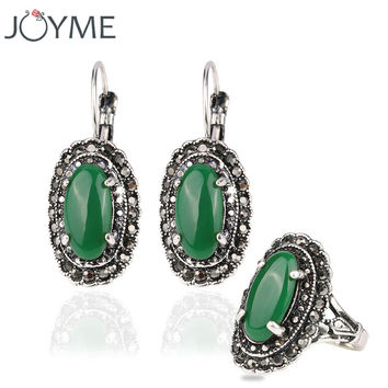 Joyme Fashion Tibetan Wedding Jewelry Sets For Women Bridal Silver-Color Vintage Earrings Rings Set Bijoux Decorations Brincos