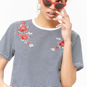 Striped Floral Embroidered Tee