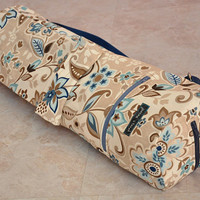 tan brown and blue floral yoga and pilates mat bag with zipper and adjustable strap ON SALE